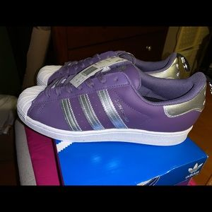 Adidas Superstar Women's Purple Logo Sneakers